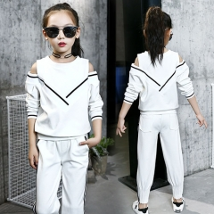 2018 girls tracksuits sets kids sports suits off shoulder long sleeve t shirts & pants sets for girl white 110cm