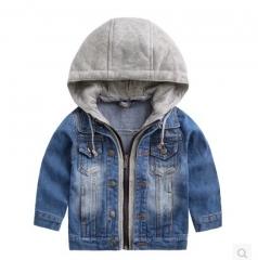Boys Denim Jacket Classic Zipper Hooded Outerwear Coat Spring Children Clothing Kids Jacket Coat dark blue 90cm