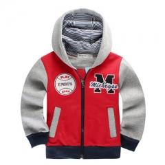 Babyinstar Spring Children's Coat Patchwork Casual Hoodies Boys Sport Sweatshirts Kids Jacket Coat red 90cm