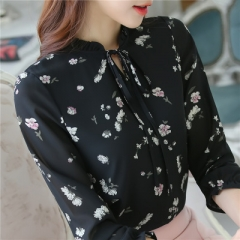Chiffon Shirt Women Blouse Women Tops Femme Lace Up Neck Casual Long Sleeve Ladies Office Top black s