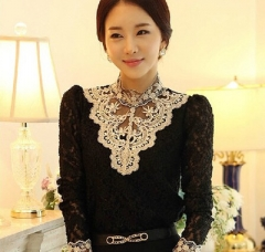 Autumn Floral Lace Women Tops And Blouses Female Long Sleeve Blouse Oversized Shirts Blusas Mujer black s