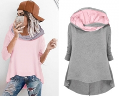 2018 Women Loose Sweatshirt Autumn Long Sleeve Patchwork Hooded Sweatshirts Tops For Femme grey s