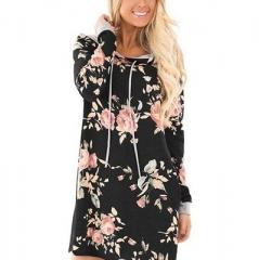 2018 Long Hoodies Sweatshirt Women Casual Floral Print Hooded Hoody Ukraine Pullovers Overalls black s