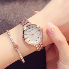 Women Waterproof Stainless Steel Quartz Watch Roman Scale Cutting Surface Mirror Bracelet Watch gold