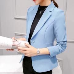 2018 Women Jackets Long Sleeves Office Lady Single Button Women Suit Jacket Female Feminine Blazer sky blue 2xl