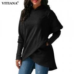 Women Winter Warm Hoodies sweatshit Coat Female Autumn Long Sleeve Pocket wool Pullover Outerwear black s