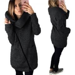 Winter Zipper Women Jackets Coats Long Sleeve Solid Turn-down Collar Jacket Femme Coats Outerwear black s