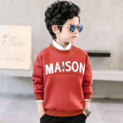 2018 Boy's children long sleeve T-shirt thick winter kids warm tops fleece boys Sweatshirts red 110cm