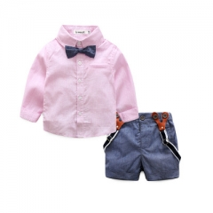 Gentleman baby boy clothes fashion bow tie shirt +pants boy set boy clothing sets Spring clothes pink 70cm
