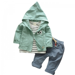 baby clothing set cotton autumn hoodies + pants + t-shirt 3 pcs children outerwear kids clothes suit green s