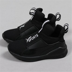 Children Sport Shoes Leather Boys Girls children casual shoes Sneakers Comfortable Kids Flats Shoes black uk9