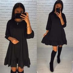 2018 Spring Dress Women Casual O-neck three quarter Lantern Sleeve Hem Ruffles Loose Dresses black s