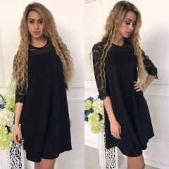 Lace Stitching Hollow Out Straight Dress Women Loose Patchwork Three Quarter Sleeves Mini Dresses black s