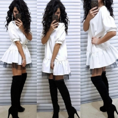 Women Vintage Lace Patchwork Party Dress Short Sleeve O neck Solid Casual Dress Women Sexy Dress white s