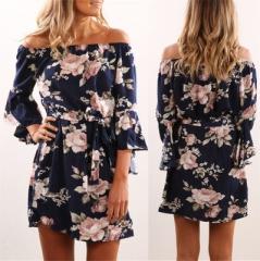 2018 Summer Sexy Off Shoulder Floral Print Chiffon Dress Boho Style Short Party Beach Dresses navy s