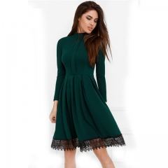 2018 Women Fashion Spring Casual Long Sleeve Dress Green Red Party O-Neck Lace Patchwork Dresses green s