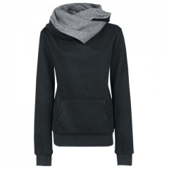 Autumn Women Casual Solid Hoodies Unisex Lapel Hooded New Sweatshirts Pullovers Turn-down Collar black s