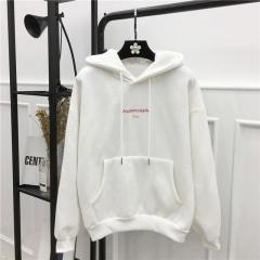 2018 Spring Letter Print Hoodies Women Bts Kpop Hooded Sweatshirt Women Long Sleeve Pullover Female white m