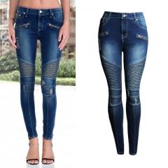 2018 Fashion Women`s Motorcycle Biker Zip Mid High Waist Stretch Skinny Pants Motor Jeans For Women dark blue s