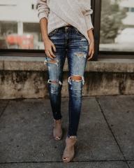 Women Pencil Pant Jeans Mid Waist Ripped Jeans Women Casual Women's Cotton Elastic Hole Jeans Pants dark blue s