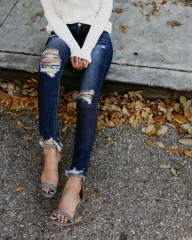 Pencil Jeans Mid Waist Slim Jeans Women Hole Cotton Elastic Feet Pencil Jeans Wash Ripped Jeans dark blue s
