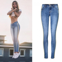 Jeans Women Summer Low Waist Slim Double Spell Metal Embroidered Beads Elastic Cowboy Ankle Pants blue 34