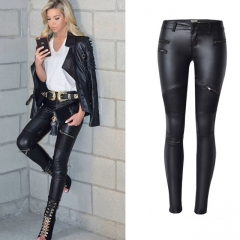 Women Pencil Jeans Pant Slim Jeans Pants Womens Leather Skinny Jean Women Locomotive Large Size black 34