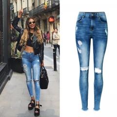 Woman Jeans High Waist Jeans Stretch Denim Slim Nine Pants Ripped Jeans For Women Irregular Jeans blue 34