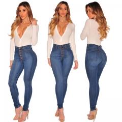 Women Pencil Jeans Pant Sling Button Slim Denim Jeans for Women Blue Patchwork High Waist Long Jeans blue s