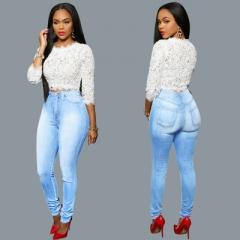 Woman Jeans Light Wash Women's Jeans High Waist Long Pencil Pant Femme Slim Jeans Female Denim Pants sky blue s
