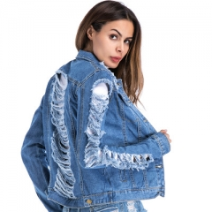 Autumn Women Jacket Coat Long Sleeve Tassel Jeans Coat Femlae Fashion Single Button Slim Coat Jacket blue m