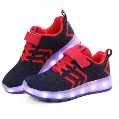 Colorful LED Shoes With Light Up Unisex Boys Girls Luminous Lighted Sneakers Flashing Sport Shoes dark blue uk8
