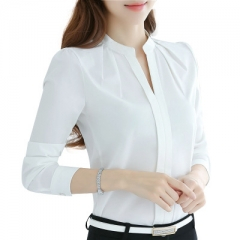 Women Tops Long Sleeve Casual Chiffon Blouse Female V-Neck Work Wear Solid Color White Office Shirts white s