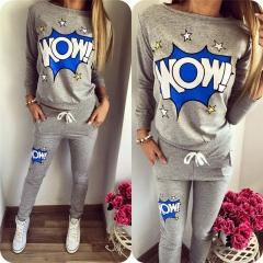 2018 Pattern Two Piece Set Top And Pants Tracksuit Women Hoodies Sweatshirts Sportswear Sweat Suit grey s