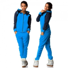 2018 Top And Pants Hooded Tracksuit Women Hoodies Sweatshirts Autumn Female Sportswear Sweat Suit blue s