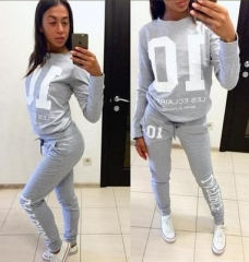 Two Piece Set Top And Pants Full Sleeve Tracksuit Women Hoodies Sweatshirts Sportswear Sweat Suit grey s