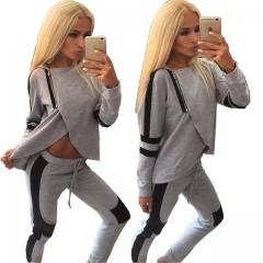 Patchwork Hooded and pants Drawstring Elastic Waist Women Hoodies Sweatshirts Sportswear Sweat Suit grey s