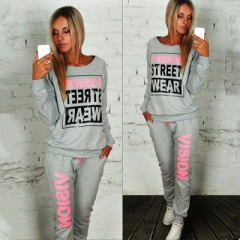 Letter Print Two Piece Set Top And Pants Cotton Tracksuit Women Hoodies Sweatshirts Sweat Suit grey s