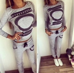 Ring Print Top And Pants Crop top Tracksuit Women Hoodies Sweatshirts Design Sportswear Sweat Suit grey s