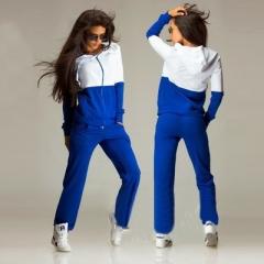 Patchwork Zipper Top And Pants Plus size Tracksuit Women Hoodies Sweatshirts Casual Warm Sweat Suit blue s
