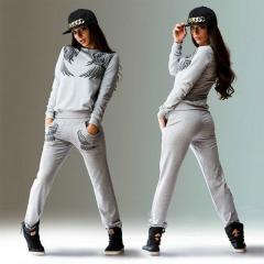 Wing Print Top And Pants Long Sleeve Tracksuit Women Hoodies Sweatshirts Sportswear Sweat Suit grey s