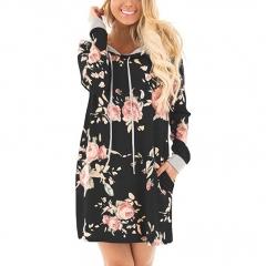 2018 Women Long Hoodies Sweatshirts Casual Long Sleeve Hooded Sweatshirt Female Floral Print Coat black s