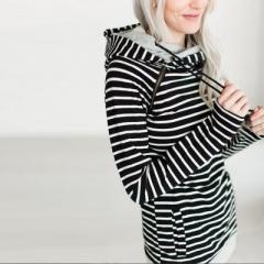 Autumn Hoodies Women Coat Pullover Warm Full Sleeve Hoodie Sweatshirt Female Pockets Striped Hoodie black s