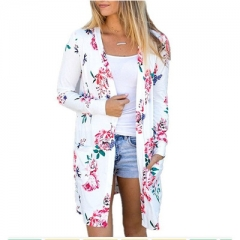 Long Sleeve Cardigan Floral Thin Coat Open Stitch Women Sweaters and Cardigans Pockets Long Coats white s
