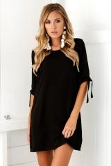 Women Dress Female O Neck Half Sleeve Lacing A Line Mini Dresses Solid Ladies Elegant Chiffon Dress black s