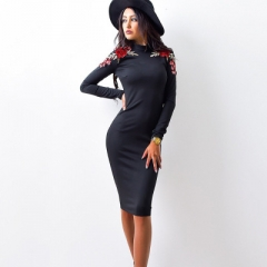 Floral Pencil Dress Women Full Sleeve Turtleneck Elegant Party Dress Knee Length Bodycon Dresses black s