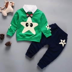 T-shirt+pants 2pcs boys suits children tracksuits for boys kids sport clothes teenage boys clothing green 80cm