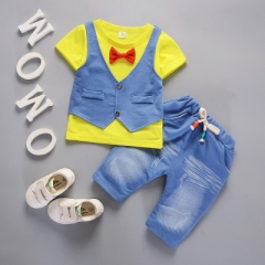 Baby Boys Toddler Kids Fashion Outfits Short Sleeve Waistcoat T-shirt+Pants Gentleman Clothes Set yellow 80cm