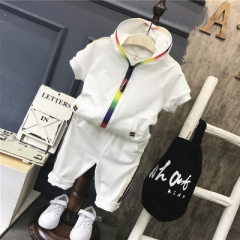 Boy Girl Clothes Sportswear Short Sleeve Colorful Zipper Hooded Clothing For Children Outfit Set white 90cm
