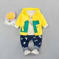 2018 Hpt Boys girls cotton children suit baby casual three-piece children's clothing baby clothing yellow 80cm